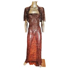Vintage layering embroidered beaded and  tassels tulle & lame' bias gown /bolero
