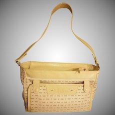 Vintage Chloe' Paris large shoulder bag/diaper leather canvas metal hardware