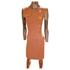Vintage Couture Givenchy 1970's Rare wiggle dress 100% wool crepe gold plated Givenchy buttons