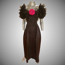 Vintage Haute Couture 1970's Bill Blass Museum worthy evening silk gown bubble skirt balloon sleeves horsehair ribbons