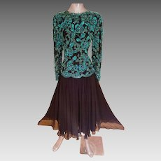 Vtg Oleg Cassini Blacktie silk heavily beaded fluid cloche dress double beads and layers