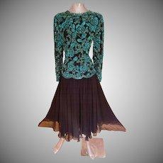 Vtg Oleg Cassini Blacktie silk heavily beaded fluid cloche dress double beads and layers