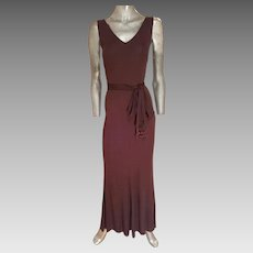 Vintage Cocoa column maxi dress with tortoise & bead fringes fluid cloche hem