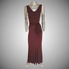 Vintage Cocoa column maxi dress with tortoise & bead fringes fluid cloche hem