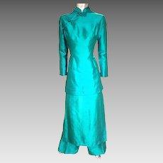 Vtg 1950's-60's Silk Cheongsam Chipao 3 piece ensemble skirt pant jacket emerald green hook& eye metal zipper