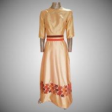 Vintage 1940's Peau de Soie Shantung hand embroidered maxi gown velour bow belt