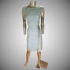 Vtg 1960's All embroidered English linen floral dress w/belt sky blue