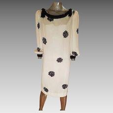 Vtg  black rose silk sheath dress shoulder kitten bows lined white design on white silk