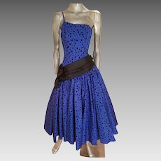 Vtg 1970's single shoulder lapis shantung party sweep gown w/ velour polka dots satin sash/bow