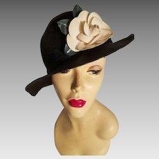Vtg  Adolfo tilt straw hat millinery flower