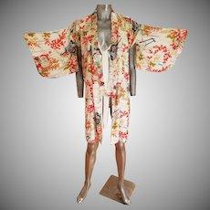 Vtg 1940's Japanese Haori Hand painted  raw silk Kimono  Shibori Art