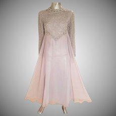 Vtg Silver Chiffon dream Empire gown crystal silver beaded Empire Japan 1960