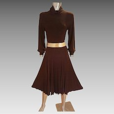 Vtg Cocoa Jersey pencil Pleated fluid dress high neck