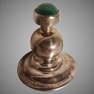 Vintage Silver Perfume bottle w/Moss Agate screw stopper