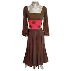 Vtg maxi 1970's Polka dot dress Cocoa & orange with cocoa large dots