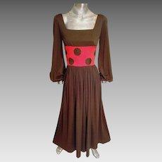 Vtg maxi 1970's Polka dot dress Cocoa & orange with cocoa large dots