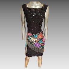 Vtg Art Deco Look fringed beaded sequined silk dress