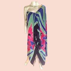 Vtg stone dyed Toga/Pareo shawl fringes