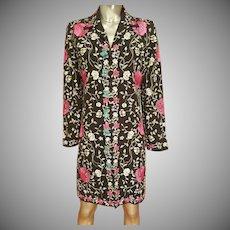 Vtg Japanese silk embroidered & aqua beaded coat/jacket