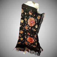 Vtg  French 1940's large silk Gypsy Mantilla /Shawl hand embroidered beaded Dancers Estate
