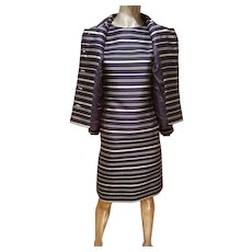 Vtg silk shantung dress & jacket ensemble silver lame' striped