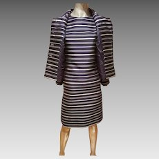 Vtg silk shantung dress & jacket ensemble silver lame' striped