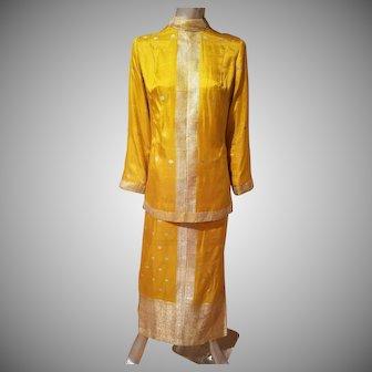 Vtg 1960's Gold Embroidered  Rare ethnic Chinese Cheongsam ensemble