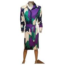 Vtg 1970's Lanvin Paris Rare killer Chemise dress w/sash belt vibrant colors