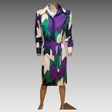 Vtg 1970's Lanvin Paris Rare killer Chemise dress w/sash belt vibrant colors