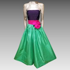 NINA RICCI Paris Haute Couture Rare silk strapless gown $7600 K retail