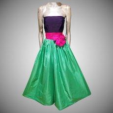 NINA RICCI Paris Haute Couture Rare silk strapless gown $7600 K retail