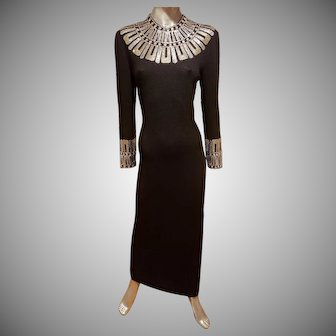 Vtg ST. JOHN Couture evening collection heavily embellished silver/gold metal