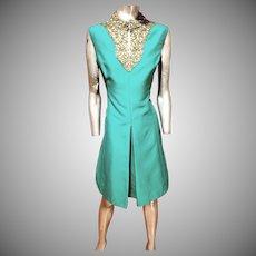 Emerald silk  Shantung Trapeze dress  heavily embellished bodice