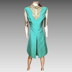 Emerald silk  Shantung Trapeze dress  heavily embellished bodice