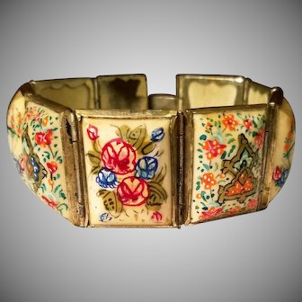 Vtg Persian 8 Panel hand painted bracelet with silver cover rim Circa 1930's