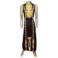 Gold Moroccan hand embroidered Maxi Kaftan dress