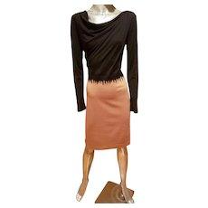 Escada Couture Germany beige/black draped wool blend wiggle dress