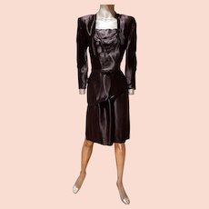 Vtg 1920 Satin draped evening dress w/tassels and belt