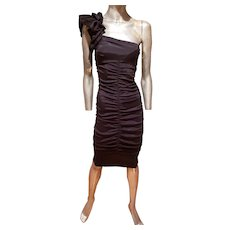 Vtg Cache' Ruched LBD black single shoulder ruffled mini dress