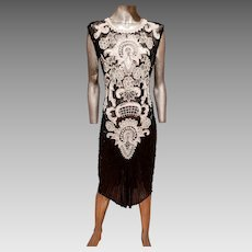 Vtg Flapper Layering silk dress heavilly beaded amazing details