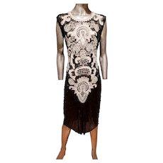 Vtg Flapper Layering silk dress heavilly beaded amazing details