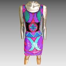 Vtg 1970 fully sequined geometric silk dress