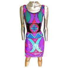 Vtg 1970 fully sequined geomtric silk dress