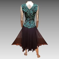 Vtg Oleg Cassini emerald embellished chiffon dress