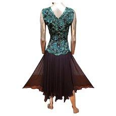 Vtg Oleg Cassini emerald embellished chiffon dress