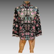 Vtg Plum Blossom & Peony fully embroidered silk jacket/kimono