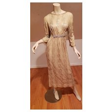 Vtg French Couture Layering evening flapper gown heavy beaded