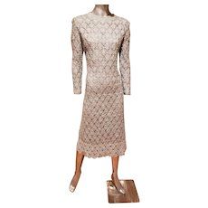 Vtg Philippe Gaulier hand crochet silver lame' couture midi dress