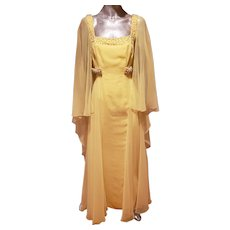 Vtg Jerri Frenell embellished couture dress with cape