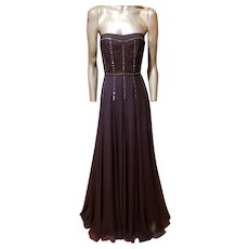Vtg Rebecca Taylor strapless trumpet gown chiffon/Lace/metal studs